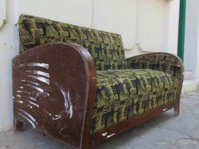 καναπές διθέσιος κλασικός art deco ξύλινος μεταχειρισμένος