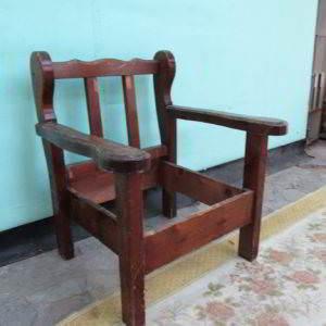 καρεκλοπολυθρόνα καρέκλα πολυθρόνα ρουστίκ ξύλινη μασιφ μεταχειρισμένη