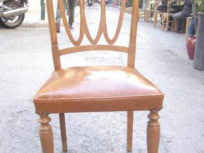 καρέκλα ξύλινη δερματίνη κλασική μεταχειρισμένη vintage retro