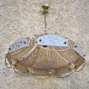 φωτιστικό γυαλί μεταλλικό μεταχειρισμένο vintage retro
